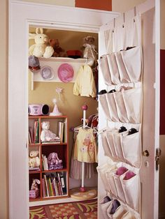 Colorful Setting - Clever space-savers turn a standard closet into a mini dressing room and provide extra space for a collection of teddy bears and books. Try it yourself by mounting a shelf with hooks for hats, coats, and collectibles; hanging a shoe organizer over the door to free up floor space; putting a small bookshelf in place; and purchasing a miniature clothing rack to set out the next day's outfits.