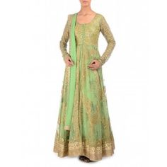 Fern Green Anarkali Suit with Sequin Embellishments
