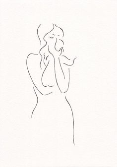 Original sketch. Minimalist drawing of a mother with baby. Line art illustration by Siret Roots.