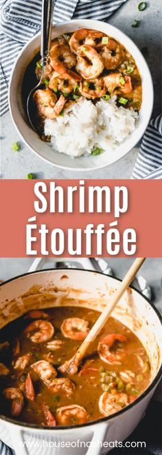 """How about a little taste of classic New Orleans and Mardi Gras with this recipe for Shrimp Etoufee? This wonderful shrimp dish starts with a dark, rich roux loaded with the """"holy trinity"""" of Cajun cooking, which turns into a sauce that smothers ea Cajun Shrimp Recipes, Fish Recipes, Seafood Recipes, Seafood Pasta, Seafood Menu, Shrimp Ettouffe Recipe, Easy Cajun Recipes, Recipe Chicken, Donut Recipes"""