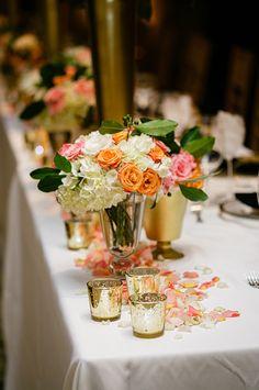 Centerpieces White white hydrangeas pink roses orange roses rose petals gold vase mercury glass votives