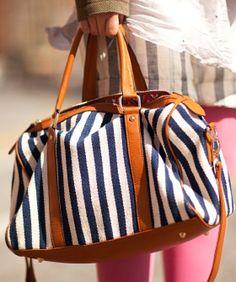Love this striped satchel bag