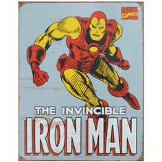 Amazon.com: Iron Man Retro Tin Sign, 12x16: Metals Signs: Posters &... ($8.39) ❤ liked on Polyvore featuring home, home decor, wall art, iron home decor, metal signs, metal home decor, retro signs and tin signs