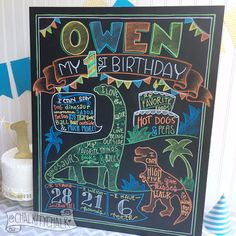 Dinosaur Birthday Chalkboard Sign first birthday by ChalkityChalk
