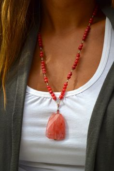 Longer Beaded Coral Necklace with Coral Stone by uniquebeadingbyme