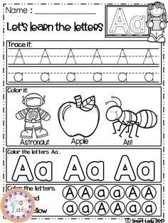 Alphabet Worksheets by Smart Lady Alphabet Worksheets, Alphabet Activities, Learning Letters, Alphabet Writing, Preschool Alphabet, Preschool Writing, Kindergarten Reading, Preschool Worksheets, Kindergarten Classroom