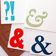 Stationary at green chair press::Ampersand Letterpress Note Cards, Set of 4
