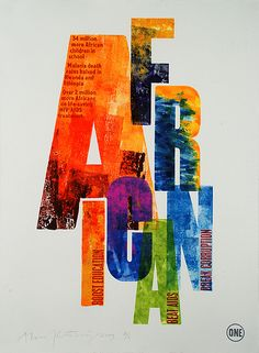 Alan Kitching- the colors are the bright colors you usually see in african work. Love the typography as well
