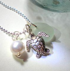 Sea Glass Jewelry Garden Leaf Seaside Seafoam by GardenLeafSeaside, $22.00