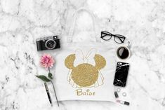 Minnie Mouse Insipred Bride Bag, Custom tote bags, wedding bags, Disney inspired bags by Pretty Party Favors, $6.65 USD