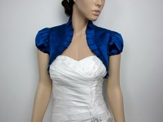 Royal Blue short sleeve satin wedding bolero jacket shrug on Etsy, $39.99