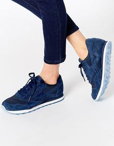 Image 1 of Reebok Navy Nylon & Suede Tech Sneakers