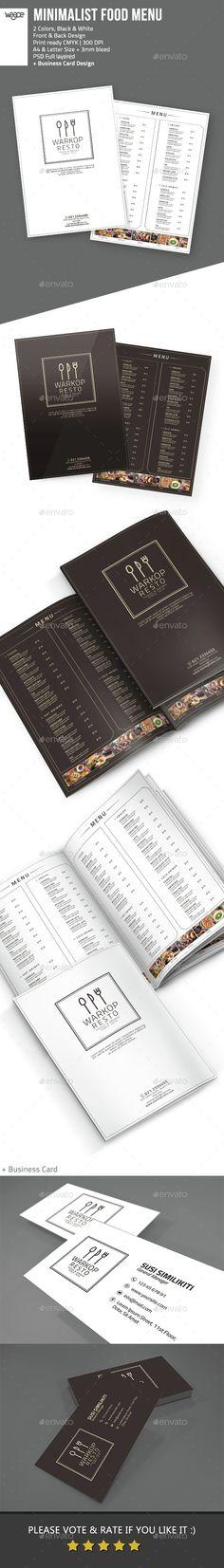 Minimalist Food Menu  #brochure #burger #business card #cafe #cafe flyer #cafe menu #cocktail #drink #$9