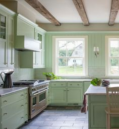 Invigorating Monochromatic Room Interior Home Styles: Gorgeous Farmhouse Kitchen Design With Green Accents Applied Tiled Floor Design And Be. Mint Green Kitchen, Green Kitchen Cabinets, Kitchen Cabinet Colors, Kitchen Colors, Kitchen Walls, Kitchen Ideas, Oak Cabinets, Kitchen White, Kitchen Island