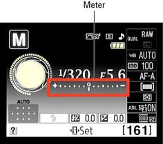 How to Read and Adjust the Exposure Meter on a Nikon D3100 - and how to screen automatic shut off timing