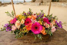 Wedding Blog, Destination Wedding, Dream Wedding, Daisy Centerpieces, Gerber Daisies, Mini Roses, Floral Wreath, Reception, Peach