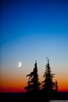 Alpine sunset and moonrise on Mt. Hood