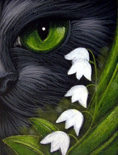 Cyra R. Cancel - BLACK CAT MAY LILY OF THE VALLEY FLOWERS