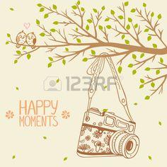 illustrazione retro macchina fotografica appesa su un ramo di albero photo