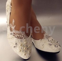 dfc2b3781df Details about su.cheny White light ivory lace pearl heart rhinestone flat  Wedding Bridal shoes