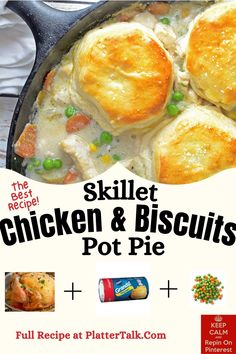 Learn how to make homemade pot pie in a skillet with this easy chicken and biscuits recipe from Platter Talk! Biscuit Pot Pie, Biscuit Recipe, Homemade Pot Pie, How To Make Homemade, Best Skillet, Chicken And Biscuits, Skillet Chicken, Kid Friendly Meals, Recipe Of The Day