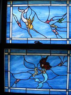 Mermaid Windows Set by StainedGlassByBev on Etsy Stained Glass Projects, Stained Glass Patterns, Stained Glass Art, Mosaic Glass, Mermaid Lagoon, Mermaid Fairy, Real Mermaids, Mermaids And Mermen, Sirens
