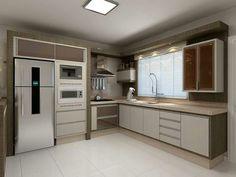 Cozinha3 Kitchen Cabinets Decor, Kitchen Room Design, Best Kitchen Designs, Kitchen Cabinet Design, Kitchen Layout, Interior Design Living Room, Contemporary Kitchen Design, Modern Bathroom Design, L Shaped Kitchen Inspiration