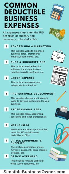 Are you unsure what expenses are deductible for you business? This infographic .Are you unsure what expenses are deductible for you business? This infographic list the most common categories of business expenses. Small Business Bookkeeping, Small Business Accounting, Business Advice, Business Planning, Business Marketing, Business Education, Business School, Quick Books Accounting, Online Business