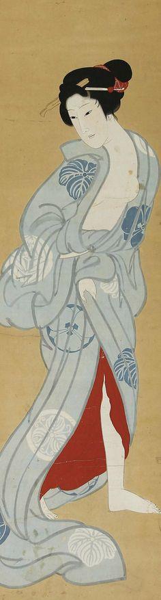 Yukata Bijin Beautiful Woman in a kimono Japanese Hanging Scroll.