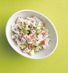 """Cucumber Salad In a bowl, combine 1/2 cup nonfat plain Greek yogurt, 1/2 cup diced cucumber, 1/2 cup diced tomato, 1/4 chopped avocado, 1/8 tsp sea salt, a pinch of black pepper. The Skinny 145 calories, 5 g fat (1 g saturated), 13 g carbs, 4 g fiber, 14 g protein"""""""