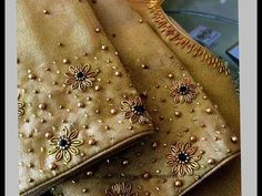 Most Beautiful Zardosi Flower making with Normal Stitching Needle-Same Like AARI/ Maggam Work Blouse Embroidery Neck Designs, Aari Embroidery, Bead Embroidery Patterns, Wedding Saree Blouse Designs, Silk Saree Blouse Designs, Golden Blouse Designs, Hand Work Blouse Design, Designer Blouse Patterns, Gold Work