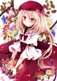 Cute anime girl blonde hair red white dress ribbon flowers red eyes