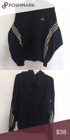 vintage adidas hoodie vintage adidas hoodie with gold stripes!! Adidas Tops Sweatshirts & Hoodies