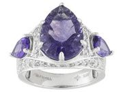 5.00ct Chinese Purple Fluorite With 1.58ctw African Amethyst And 1.38ctw White Topaz Silver Ring (SYH007)
