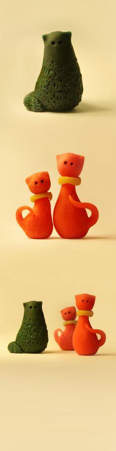 Mini cat sculpture  Medium : play dough