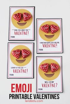 These are SO perfect for teens and tweens who love their emoticons! Just grab a bag ofheart shaped chocolatesfor the eyes! These will be the talk of the classroom. Click here to get these FREEEmoji Valentine Printables from Landeelu.