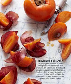 persimmon & bresaola hors d'oeuvres. via Martha Stewart Living Nov. 2013.