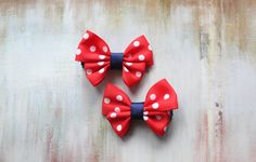 Baby / Toddler / Girl Hair Accessories / Hair Bows, Red and White Polka Hair Bow Hair Clips on Etsy, $5.00 #hairclips #blue #partyfavors #toddlers #babygift #hairaccessories #christmas
