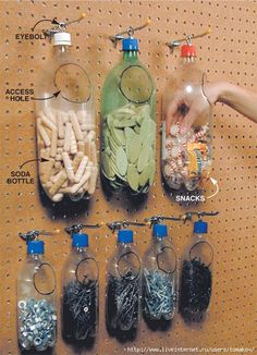 Recycled plastic bottles make for Space-Saving & Cheap Storage organization garage Small Shop Tips: Sawhorse, Space-Saving & Cheap Storage Shed Organization, Organizing Tools, Diy Plastic Bottle, Plastic Pop, Uses Of Plastic, Plastic Plates, Plastic Bags, Plastic Bag Storage, Ribbon Storage