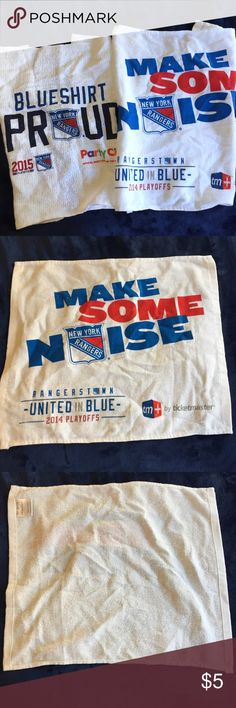 Bundle of 2 NYR Towels EUC- two New York Rangers towels. Dimension is 15x 18in Rangers Accessories