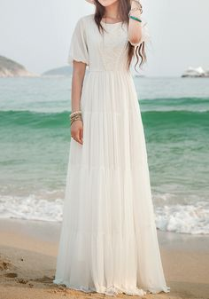 White Lace Side Pull Round Neck High Waisted Bohemian Elegant Maxi Dress - Maxi Dresses - Dresses