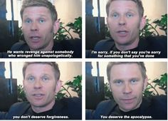 You deserve the apocalypse. [SET OF GIFS] Mark Pellegrino interview <--- officially creeped out by mark