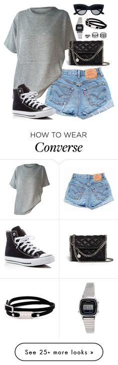 """""""Untitled #1839"""" by elizabethwhitehead on Polyvore featuring Levi's, Converse, STELLA McCARTNEY, Casio, LULUS and McQ by Alexander McQueen"""