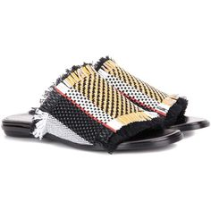 Proenza Schouler Woven Leather and Fabric Sandals (2,335 MYR) ❤ liked on Polyvore featuring shoes, sandals, multicoloured, multi color sandals, colorful sandals, woven-leather shoes, woven leather sandals and woven sandals