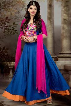 Pink and Blue Color Traditional Chaniya Choli for Garba