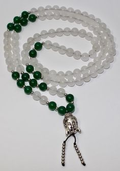 108 Mala White Jade and Green Jade Necklace by MyOhmStyle on Etsy