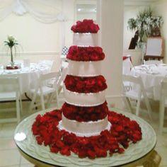 Red Rose tower wedding cake granburycakes.com