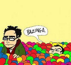Cartoon Sheldon y Leonard en la piscina de pelotas. ¡Bazinga!