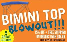 EmpireCovers is having a Bimini Blowout Sale!   Facebook customers use: FBJULY4 for 30% off, but hurry! The 30% off coupon code expires July 31st! http://www.empirecovers.com/biminitop.aspx