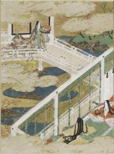 "The Maidens (Otome), Illustration to Chapter 21 of the ""Tale of Genji"" (Genji monogatari) by TOSA Mitsunobu,  Paintings. Women dressed in junihitoe"